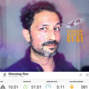 10km in 51:51min.
