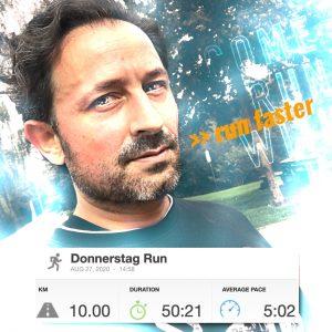 10km in 50:21min.