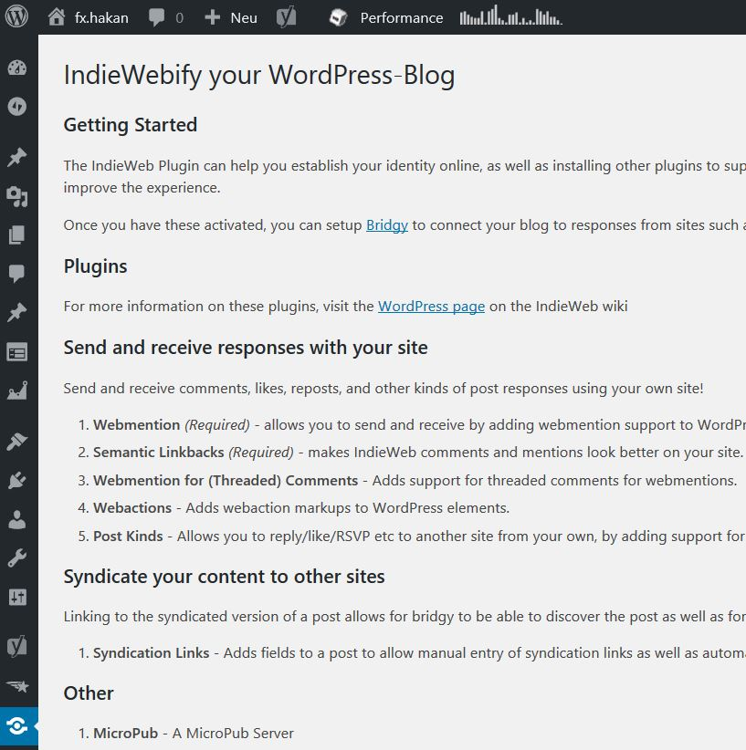 Admin für IndieWebify in WordPress