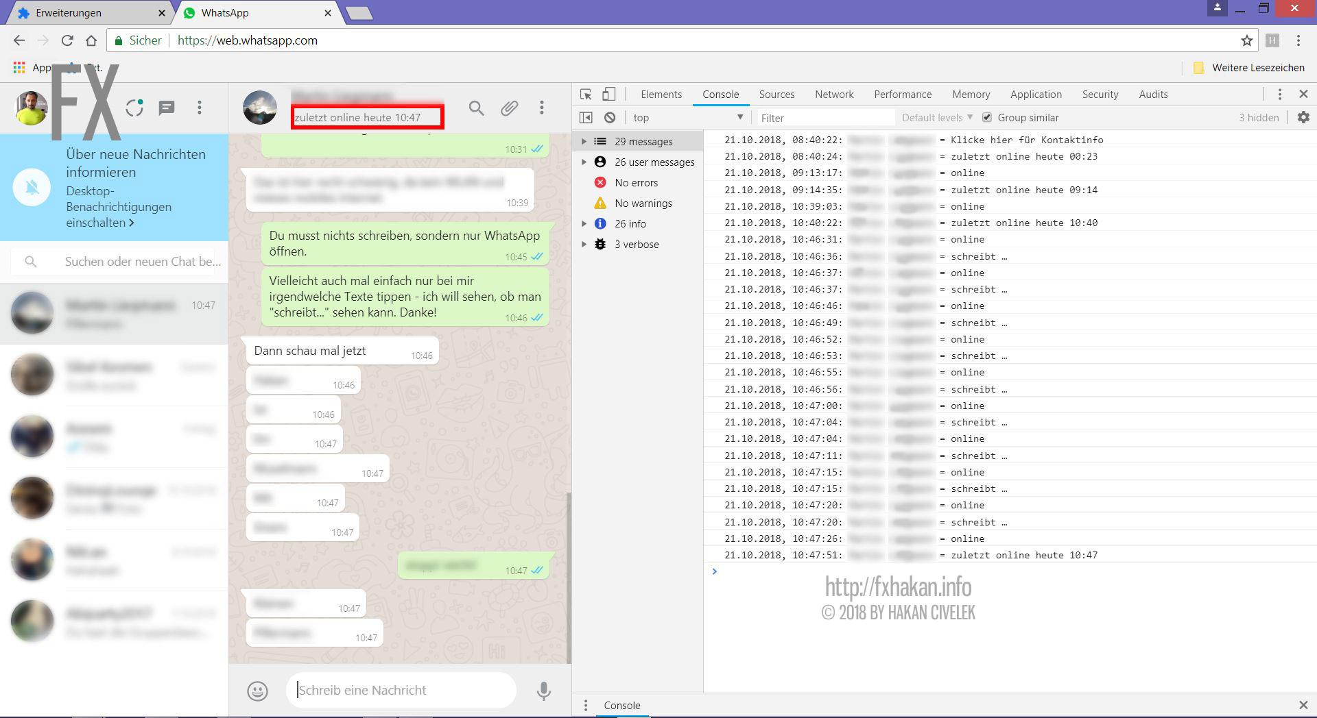 WhatsApp - OnlineStatus auslesen